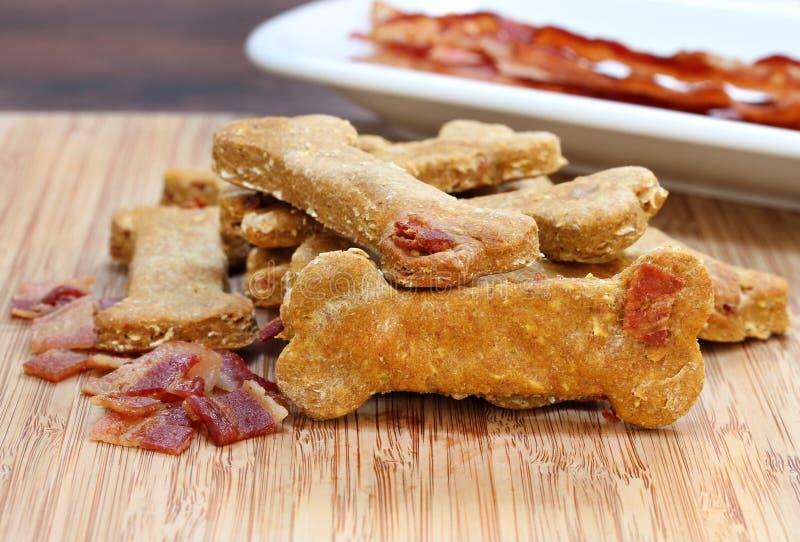 Μπισκότο σκυλιών κολοκύθας και μπέϊκον, υγιής και σπιτικός στοκ φωτογραφία