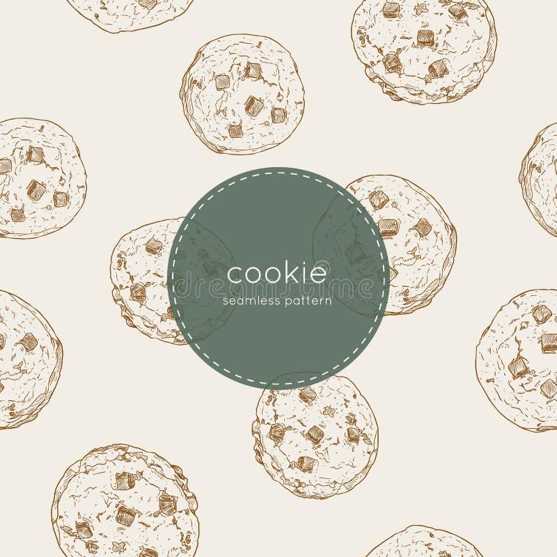 Μπισκότο τσιπ σοκολάτας , άνευ ραφής διάνυσμα σχεδίων απεικόνιση αποθεμάτων