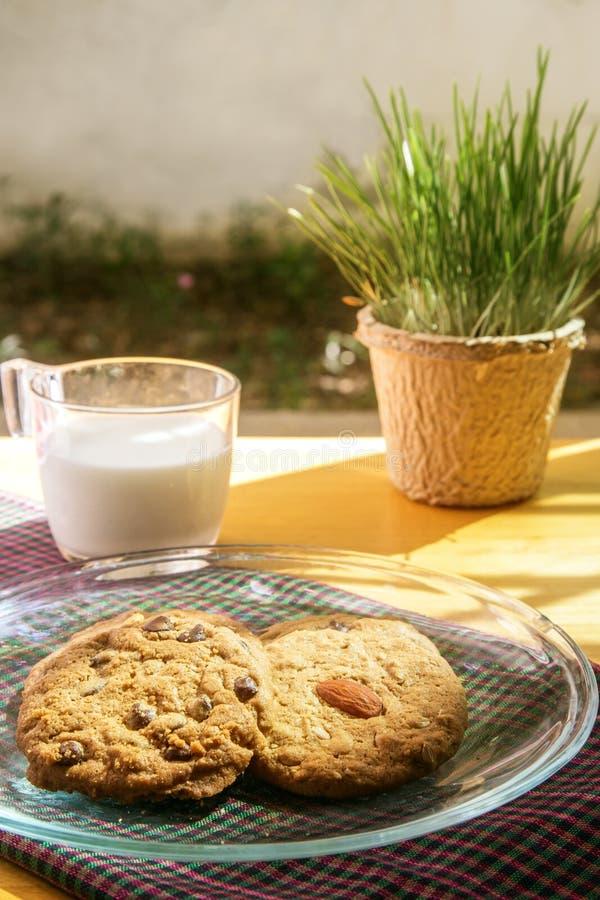Μπισκότο τσιπ σοκολάτας και μπισκότο αμυγδάλων με το γάλα το πρωί στοκ φωτογραφίες με δικαίωμα ελεύθερης χρήσης