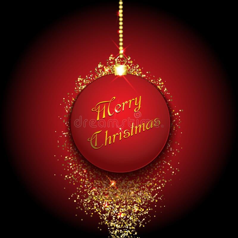 Μπιχλιμπίδι Χριστουγέννων σε ένα χρυσό υπόβαθρο glittery ελεύθερη απεικόνιση δικαιώματος