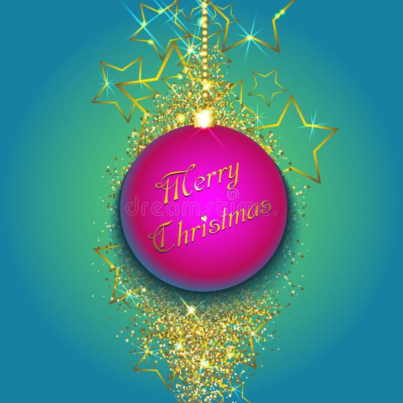 Μπιχλιμπίδι Χριστουγέννων σε ένα χρυσό υπόβαθρο glittery διανυσματική απεικόνιση