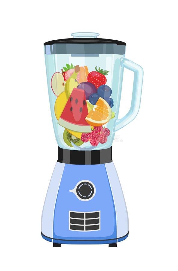 Μπλέντερ κουζινών με τα κομμάτια των φρούτων επίσης corel σύρετε το διάνυσμα απεικόνισης ελεύθερη απεικόνιση δικαιώματος