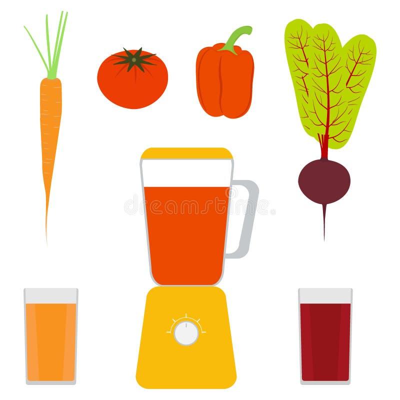 Μπλέντερ, λαχανικά και φυτικοί χυμοί Γλυκό πιπέρι, ντομάτα, καρότα, τεύτλα Γυαλιά με το χυμό Απεικόνιση, που απομονώνεται διανυσμ διανυσματική απεικόνιση