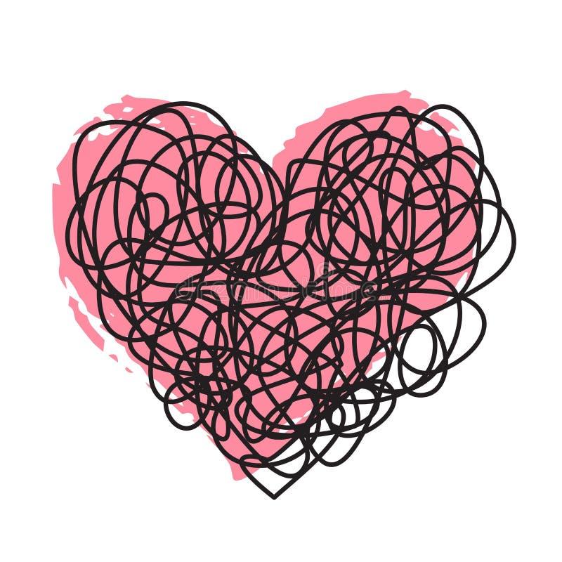 Μπλεγμένη κακογραφία και ρόδινη καρδιά μελανιού ελεύθερη απεικόνιση δικαιώματος