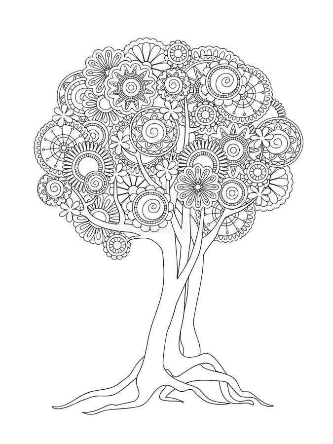 Μπλεγμένο δέντρο με τα mandalas και τα λουλούδια διανυσματική απεικόνιση