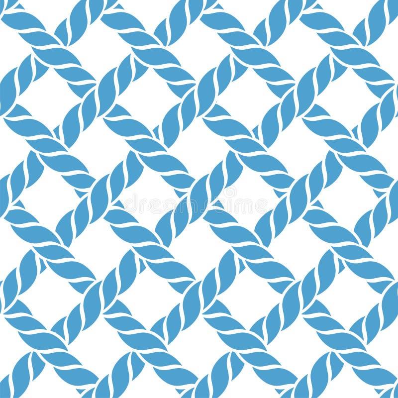 Μπλε άνευ ραφής σχέδιο σχοινιών ή νημάτων ελεύθερη απεικόνιση δικαιώματος