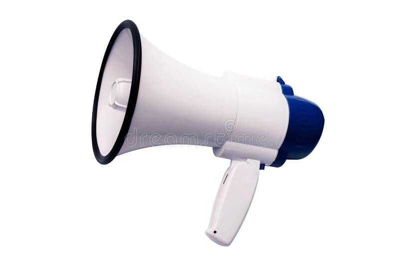 Μπλε άσπρο megaphone δημόσια διευθύνσεων bullhorn στο άσπρο υπόβαθρο στοκ εικόνες