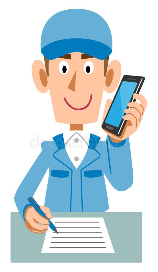 Μπλε άτομα λειτουργώντας ενδυμάτων που γράφουν τη γραφή μιλώντας στο κινητό τηλέφωνο διανυσματική απεικόνιση