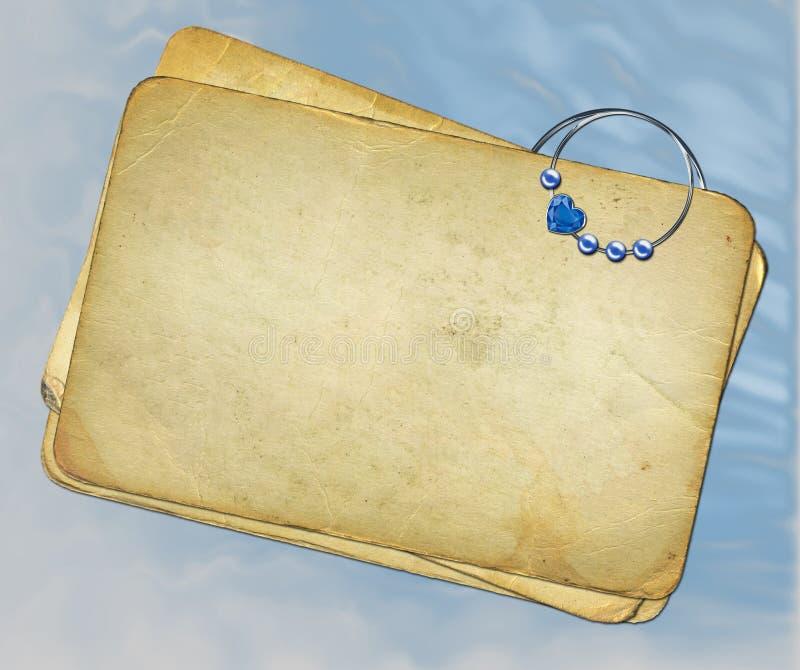 μπλε έγγραφα grunge ανασκόπησης paperclip απεικόνιση αποθεμάτων