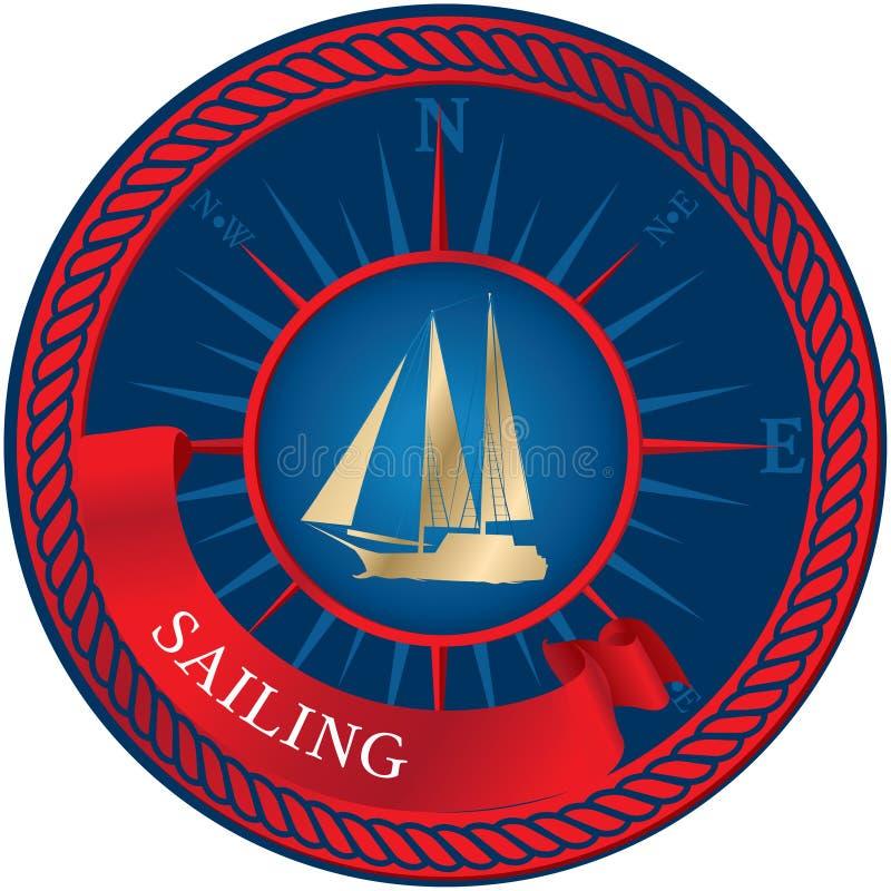 Μπλε έμβλημα με sailboat, την πυξίδα και την κορδέλλα διανυσματική απεικόνιση