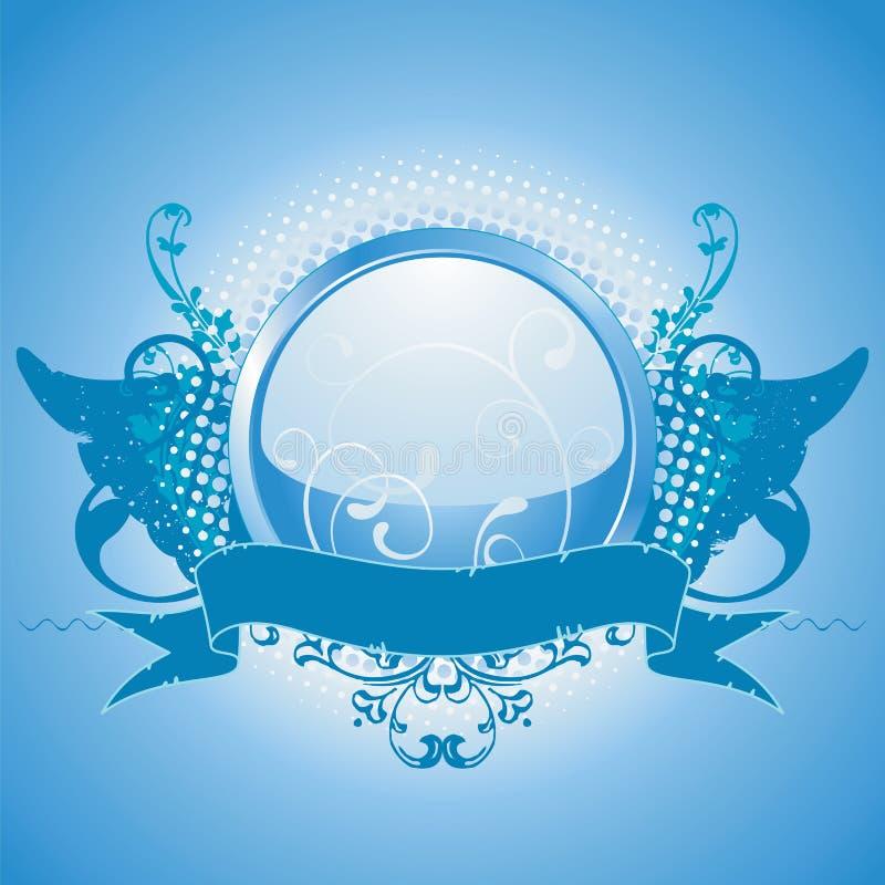 μπλε έμβλημα στοιχείων σχ&e διανυσματική απεικόνιση