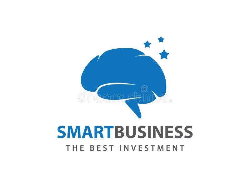 Μπλε έξυπνο αστεριών σχέδιο λογότυπων εγκεφάλου διανυσματικό ελεύθερη απεικόνιση δικαιώματος