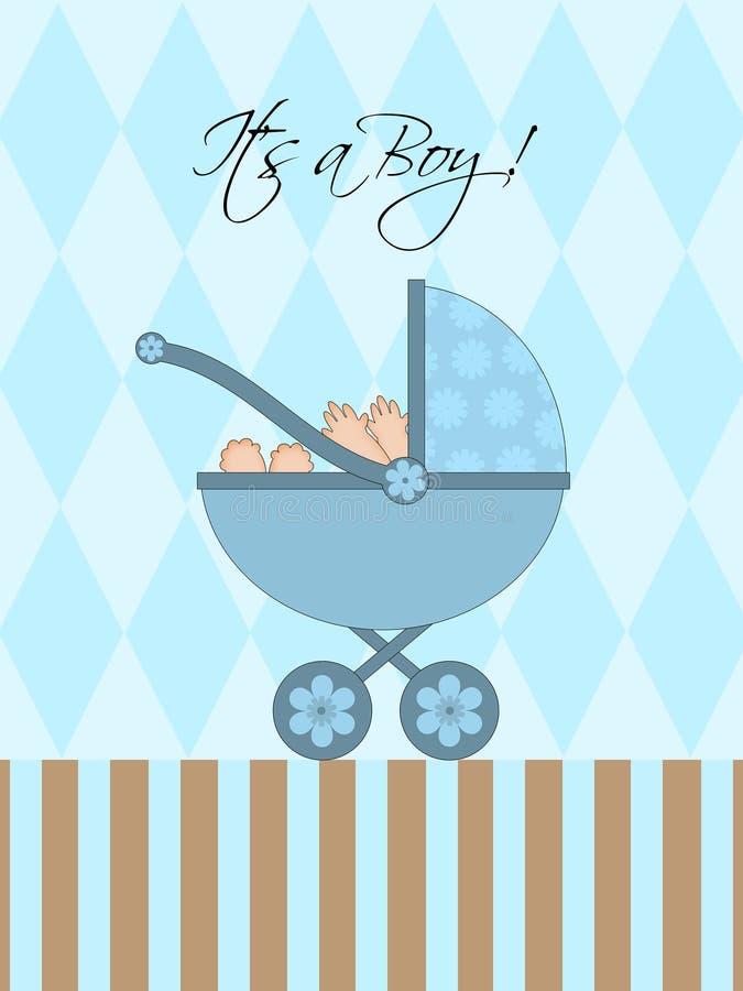 μπλε αγόρι μωρών το καροτσ ελεύθερη απεικόνιση δικαιώματος