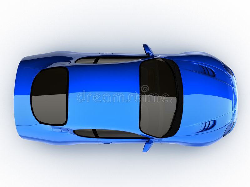 μπλε αθλητική κορυφαία όψη αυτοκινήτων στοκ εικόνα με δικαίωμα ελεύθερης χρήσης
