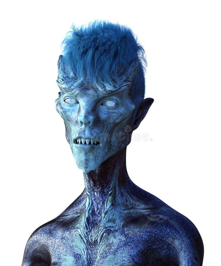 Μπλε αλλοδαπό πορτρέτο διανυσματική απεικόνιση