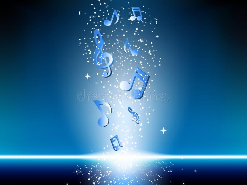Μπλε ανασκόπηση με τις σημειώσεις μουσικής ελεύθερη απεικόνιση δικαιώματος