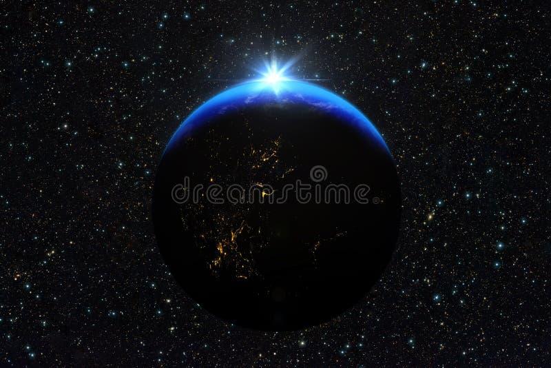 Μπλε ανατολή, άποψη της γης από το διάστημα διανυσματική απεικόνιση