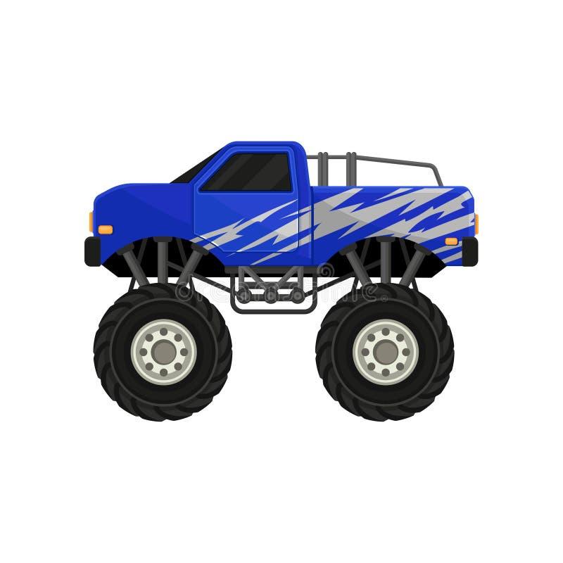 Μπλε ανοιχτό φορτηγό τεράτων Αυτοκίνητο με τις μεγάλες ρόδες, τα μαύρα βαμμένα παράθυρα και το ασημένιο περικάλυμμα decal Επίπεδο ελεύθερη απεικόνιση δικαιώματος