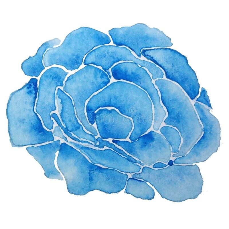Μπλε αυξήθηκε λουλούδι με Watercolor ελεύθερη απεικόνιση δικαιώματος