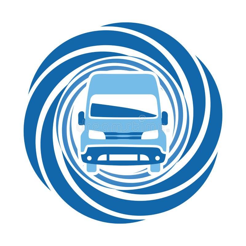 Μπλε αυτοκίνητο γύρω από το εικονίδιο Σημάδι μπροστινής άποψης στοκ φωτογραφία