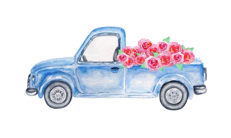 Μπλε αυτοκίνητο Watercolor με τα τριαντάφυλλα διανυσματική απεικόνιση
