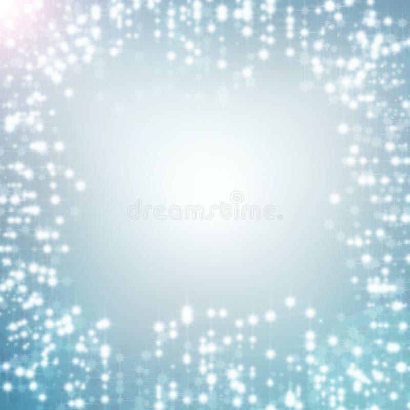 Μπλε αφηρημένα φω'τα Χριστουγέννων ανασκόπησης άσπρα απεικόνιση αποθεμάτων