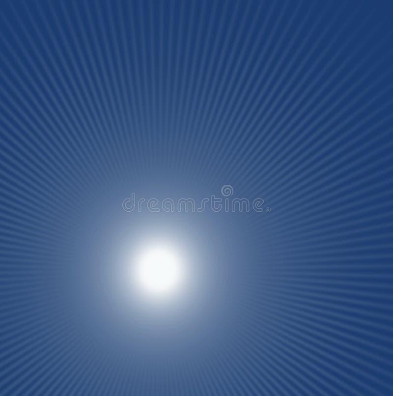 Μπλε αφηρημένη πυράκτωση υποβάθρου στο κέντρο και τις ακτίνες του φωτός ελεύθερη απεικόνιση δικαιώματος