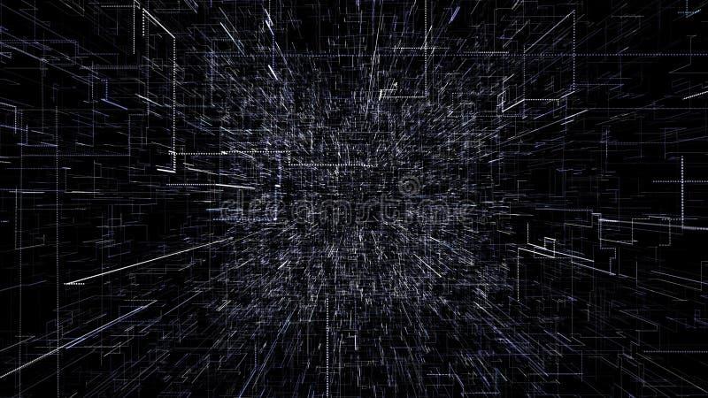 Μπλε αφηρημένο εικονικό διάστημα τρισδιάστατη απεικόνιση που πετά μέσω της σήραγγας ψηφιακών στοιχείων διανυσματική απεικόνιση