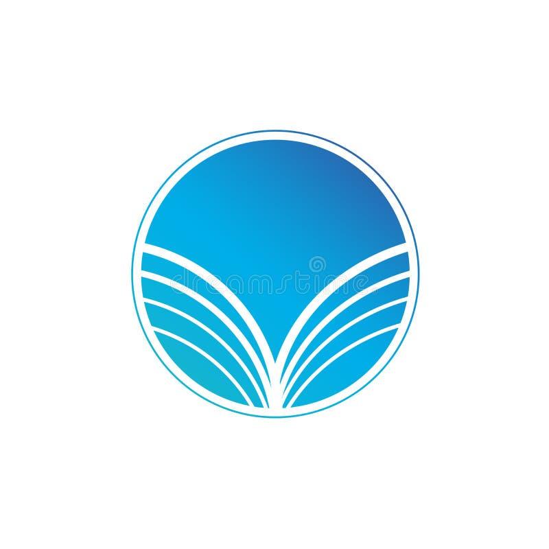 Μπλε αφηρημένο στρογγυλό λογότυπο με τα κυρτά λωρίδες, ακτίνες ήλιων Διανυσματική απεικόνιση που απομονώνεται στην άσπρη ανασκόπη ελεύθερη απεικόνιση δικαιώματος