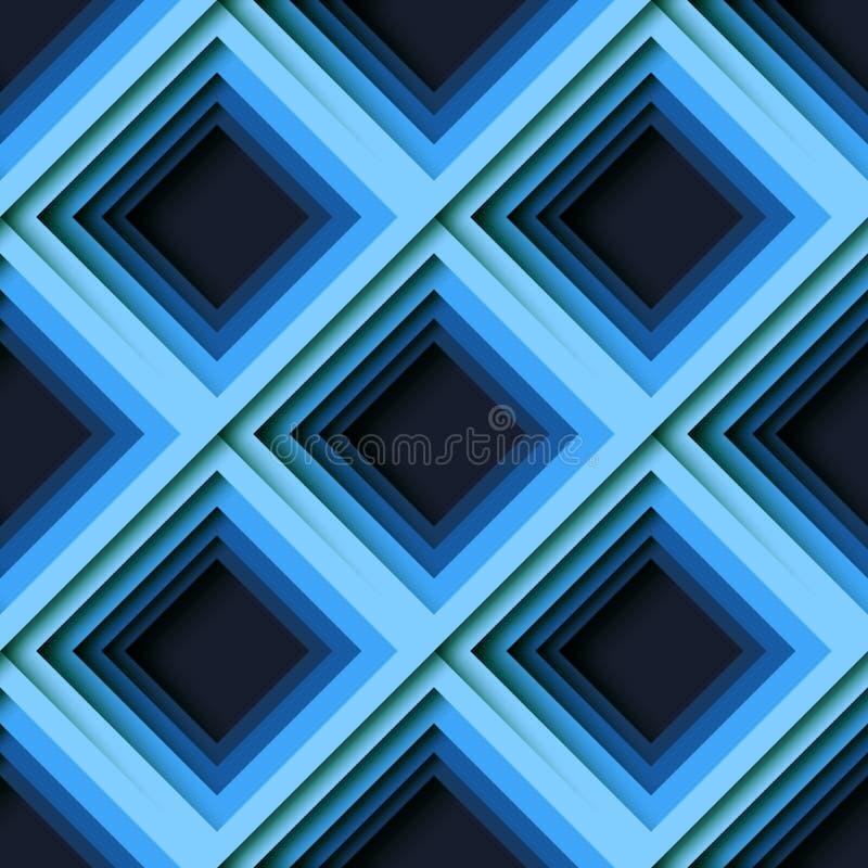 Μπλε αφηρημένο τετραγωνικό γεωμετρικό υπόβαθρο σχεδίων μορφής άνευ ραφής απεικόνιση αποθεμάτων