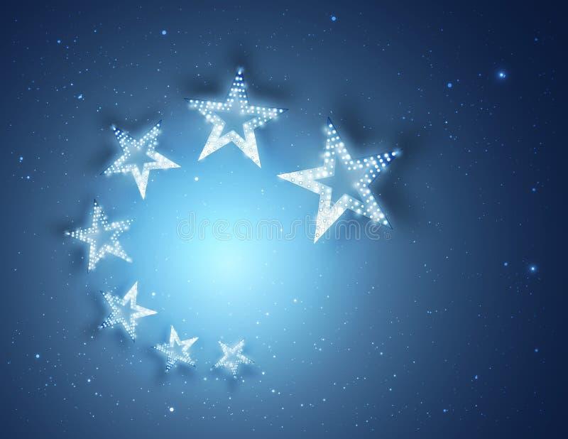 Μπλε αφηρημένο υπόβαθρο αστεριών για το σχέδιο, το φως και να λάμψει σας διανυσματική απεικόνιση