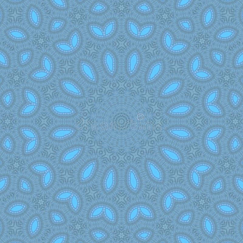 Μπλε αφηρημένο υπόβαθρο καλειδοσκόπιων σχεδίων κύκλος mandala στοκ εικόνα με δικαίωμα ελεύθερης χρήσης