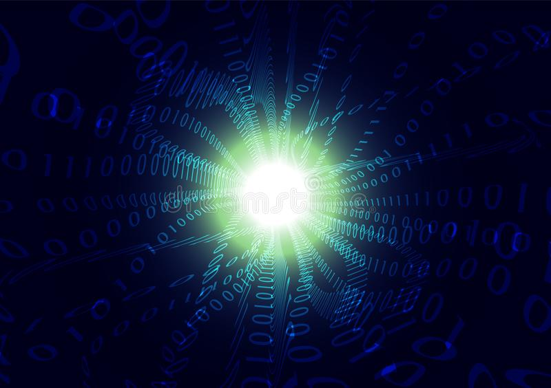 Μπλε αφηρημένο υπόβαθρο κυμάτων ατμού δυαδικού κώδικα, έννοια επικοινωνίας τεχνολογίας υπολογιστών ελεύθερη απεικόνιση δικαιώματος