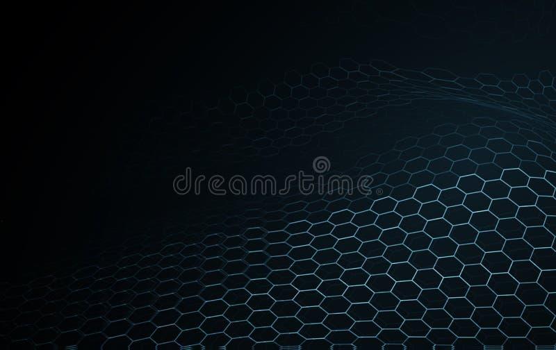 Μπλε αφηρημένο υπόβαθρο τεχνολογίας και επιστήμης επιφάνειας κυμάτων blockchain Εξισωτής μουσικής του hexagon πλαισίου καλωδίων δ ελεύθερη απεικόνιση δικαιώματος