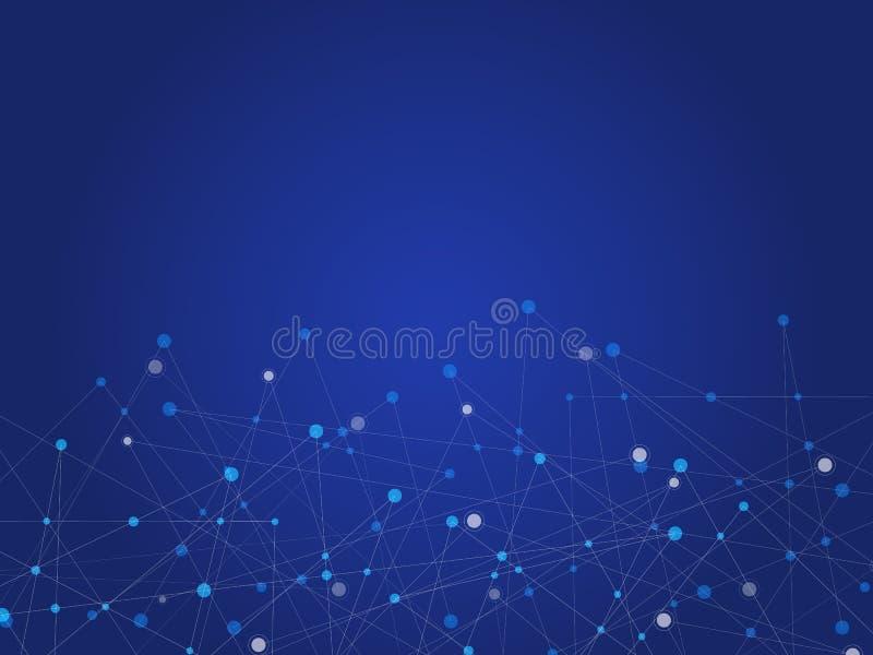 Μπλε αφηρημένο υπόβαθρο τεχνολογίας και επιστήμης με το μπλε και άσπρο σημείο γραμμών Έννοια επιχειρήσεων και σύνδεσης Φουτουριστ απεικόνιση αποθεμάτων