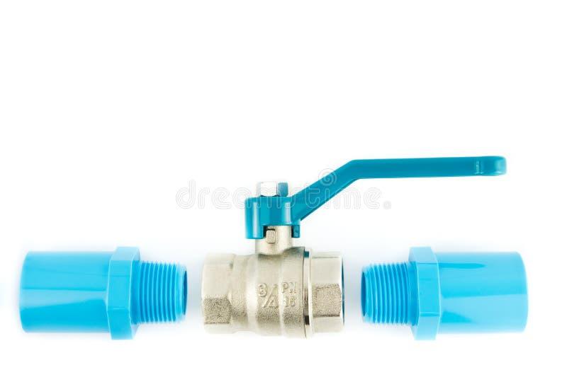 μπλε βαλβίδα PVC σωλήνων σύν&delta στοκ φωτογραφία