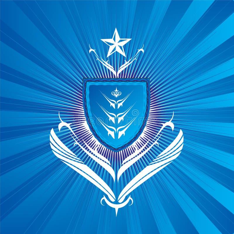μπλε βασιλοπρεπής ασπίδ&al απεικόνιση αποθεμάτων