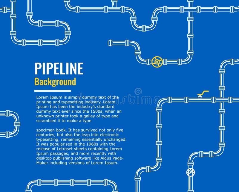 Μπλε βιομηχανικό υπόβαθρο με τους άσπρους σωλήνες για το νερό, αέριο, πετρέλαιο, ελεύθερη απεικόνιση δικαιώματος