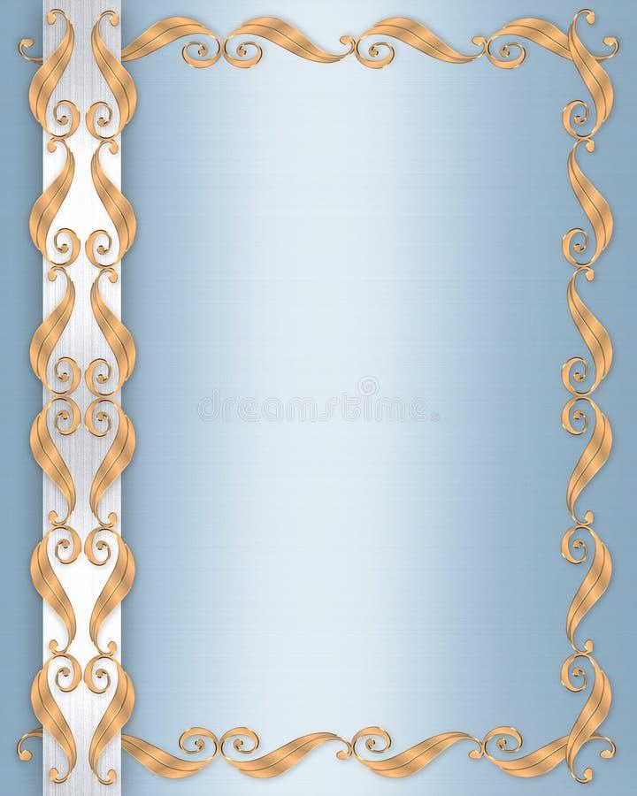 μπλε γάμος σατέν πρόσκληση διανυσματική απεικόνιση