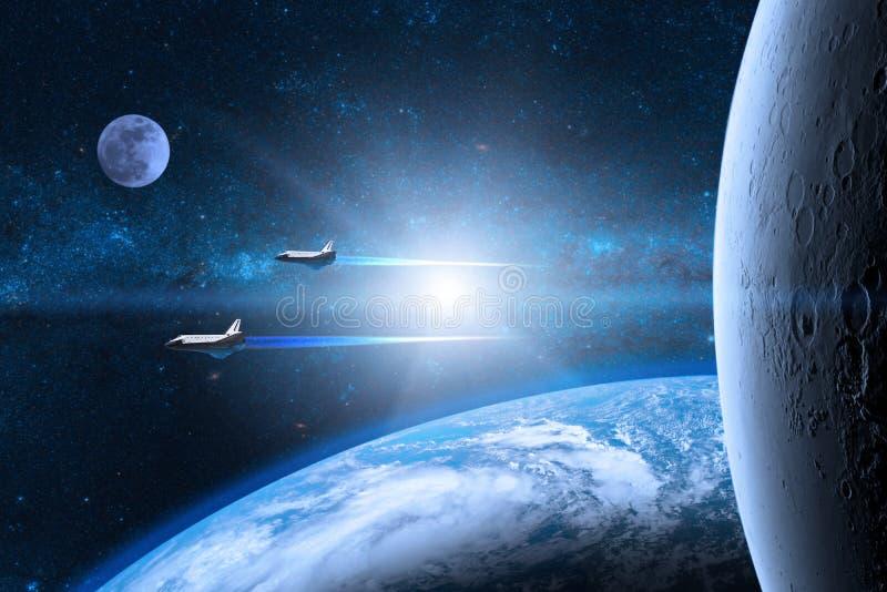 μπλε γήινος πλανήτης Διαστημικά λεωφορεία που απογειώνονται σε μια αποστολή στοκ εικόνες