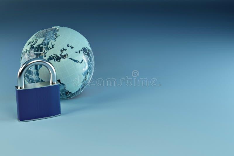 μπλε γήινο λουκέτο ανασ&k διανυσματική απεικόνιση