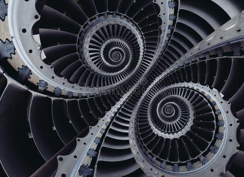 Μπλε γκρίζο βιομηχανικό αέρα τεχνών στροβίλων σχέδιο υποβάθρου λεπίδων σπειροειδές που διαστρεβλώνεται σε δύο πόλους σπειρών Ασυν στοκ φωτογραφίες