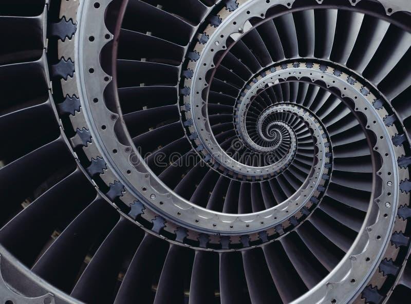 Μπλε γκρίζο βιομηχανικό αέρα τεχνών στροβίλων σχέδιο υποβάθρου λεπίδων σπειροειδές που διαστρεβλώνεται από τρεις σπείρες Φτερά επ στοκ εικόνες με δικαίωμα ελεύθερης χρήσης