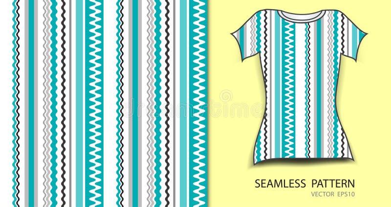 Μπλε γραμμές και άνευ ραφής διανυσματική απεικόνιση σχεδίων καρδιών, σχέδιο μπλουζών, σύσταση υφάσματος, διαμορφωμένος ιματισμός διανυσματική απεικόνιση