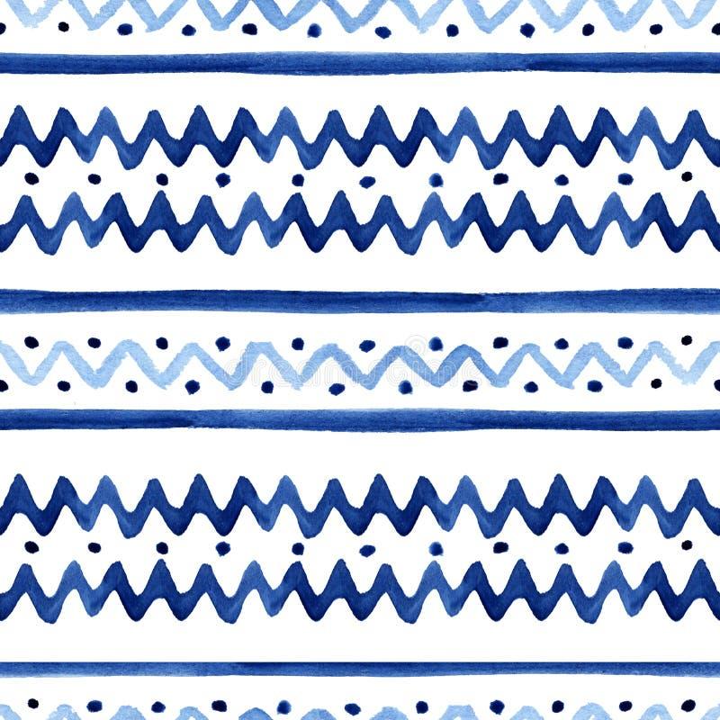Μπλε γραμμές και κύματα τρεκλίσματος watercolor hand-drawn που διακοσμούνται με τα σημεία στο άσπρο υπόβαθρο - άνευ ραφής σχέδιο ελεύθερη απεικόνιση δικαιώματος