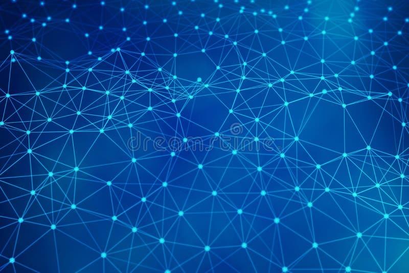 Μπλε γραμμές σύνδεσης δικτύων ανασκόπηση φουτουριστι διανυσματική απεικόνιση