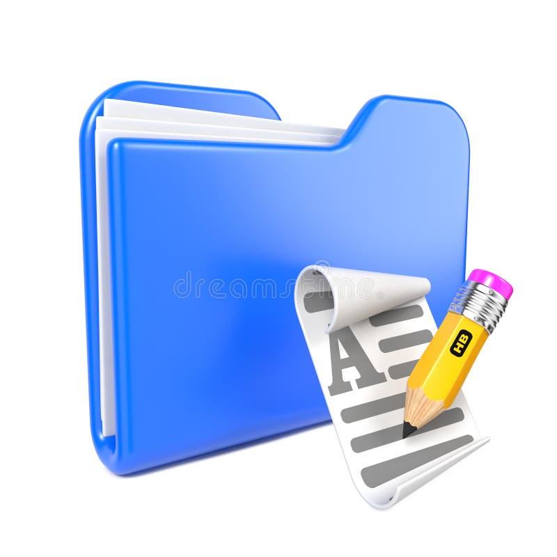 Μπλε γραμματοθήκη με το κίτρινο μολύβι. ελεύθερη απεικόνιση δικαιώματος