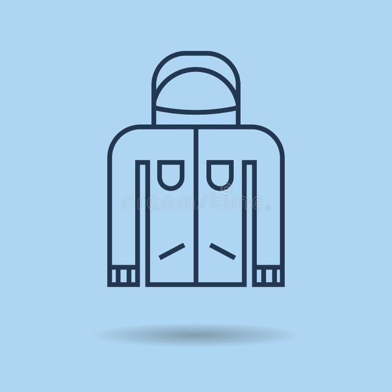 Μπλε γραμμικό εικονίδιο - χειμερινό sportswear - σακάκι διανυσματική απεικόνιση