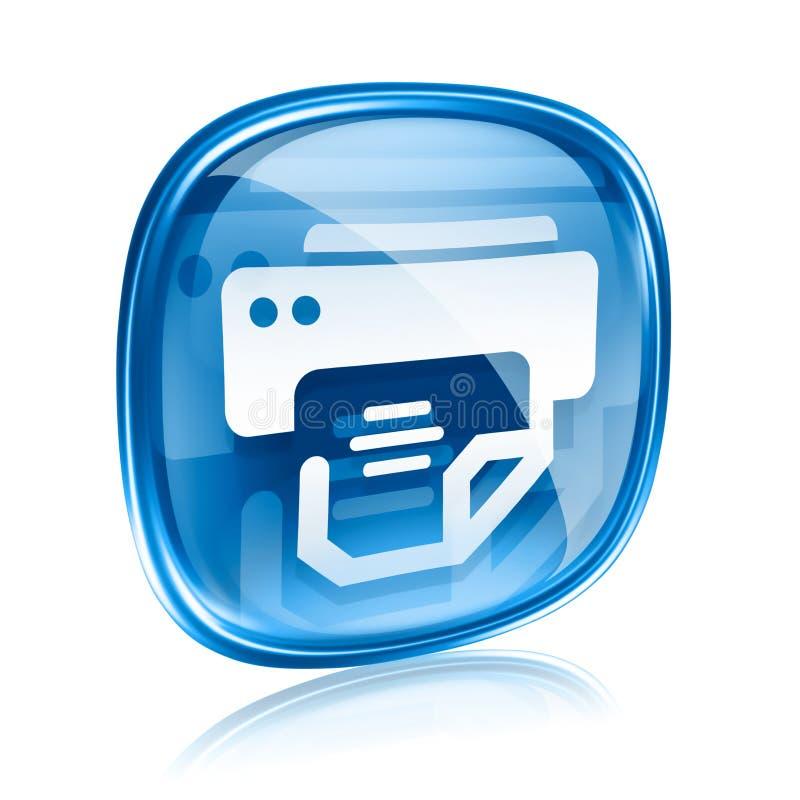 Μπλε γυαλί εικονιδίων εκτυπωτών διανυσματική απεικόνιση