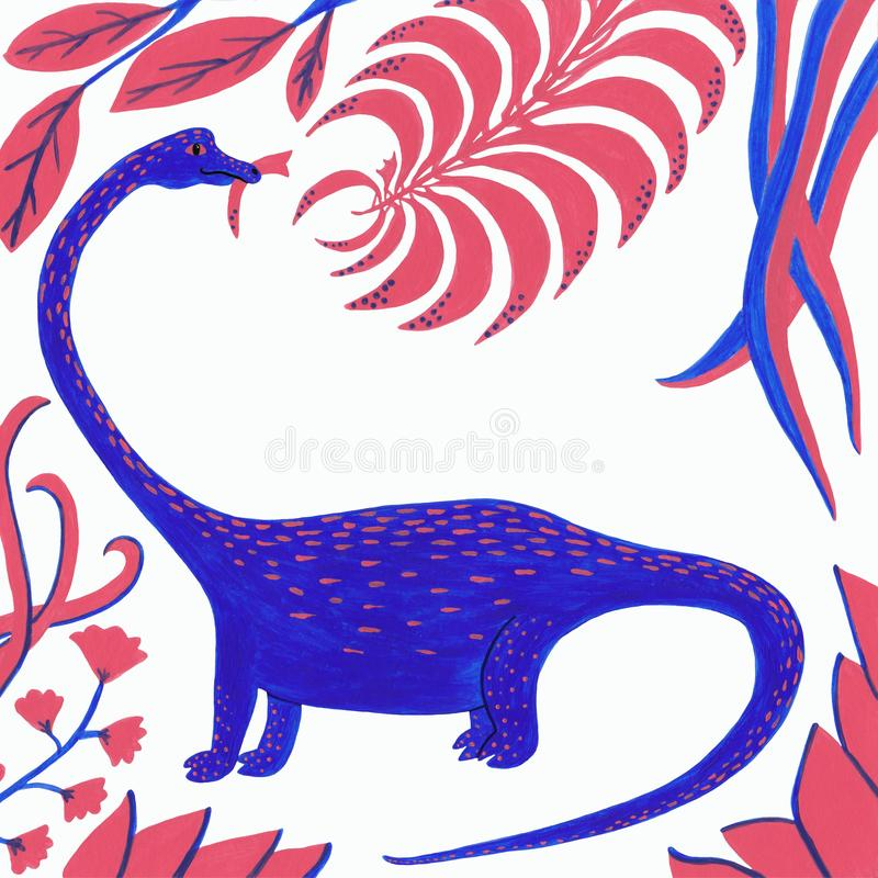Μπλε δεινόσαυρος με το κοράλλι και μπλε φύλλα σε ένα άσπρο υπόβαθρο απεικόνιση αποθεμάτων